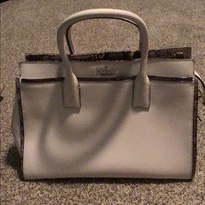 White with snake skin trim Kate spade handbag